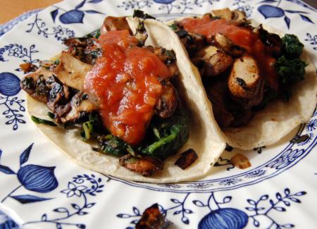 Mushroom-Spinach Tacos
