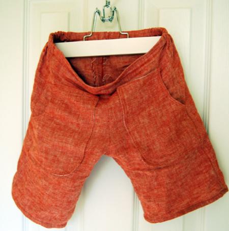 Red Linen Shorts