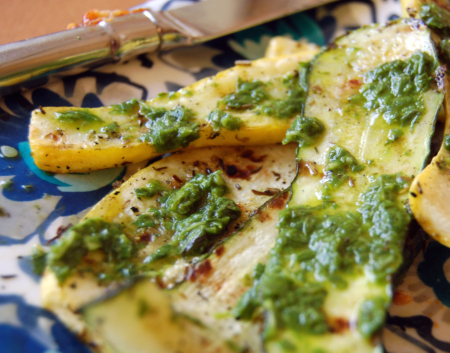 Grilled Squash with Basil Puree