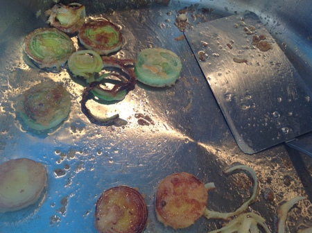 Frying leeks
